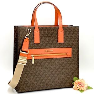 MICHAEL KORS KENLY LARGE NORTH SOUTH TOTE TANGERIN